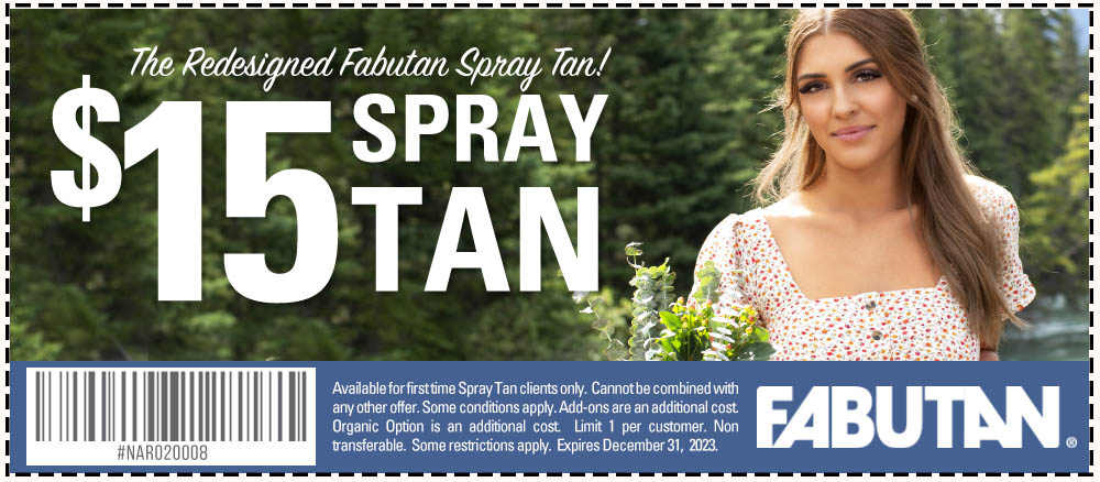 Try the redesigned Fabutan Spray Tan for only $15